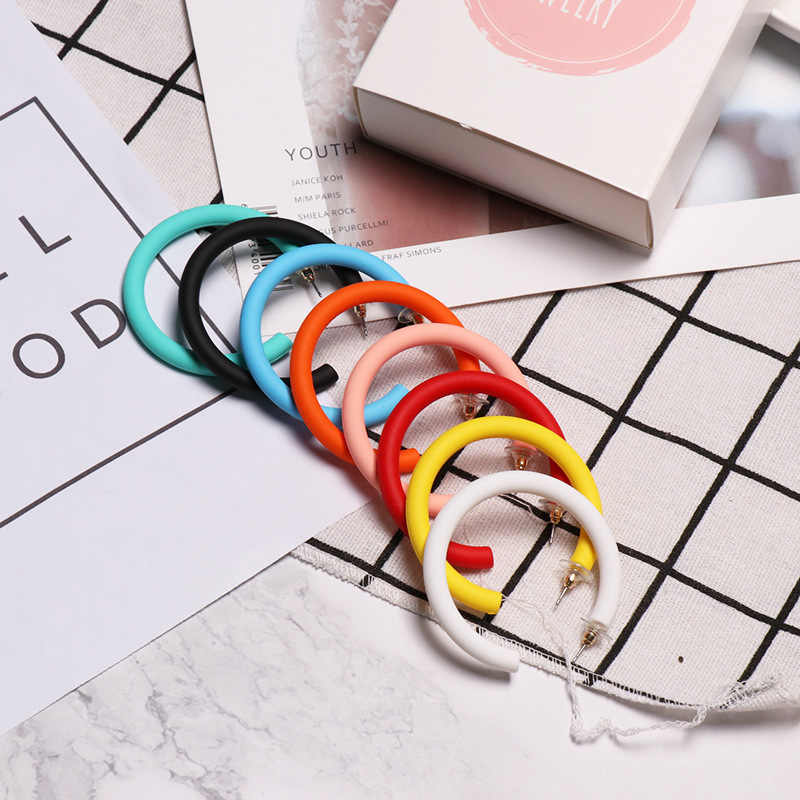 8 color new arrive C shape hoop earrings acrylic painting big round hyperbole fashion earrings for women