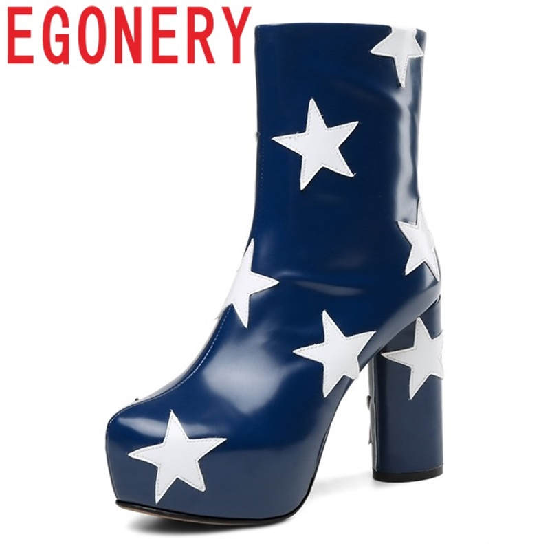 EGONERY Star pattern Genuine Leather Mid-Calf Boots Super High 11cm Winter plush Platform Retro punk cool girl women shoes 34-43 stylish mid waisted ripped star pattern loose women s jeans