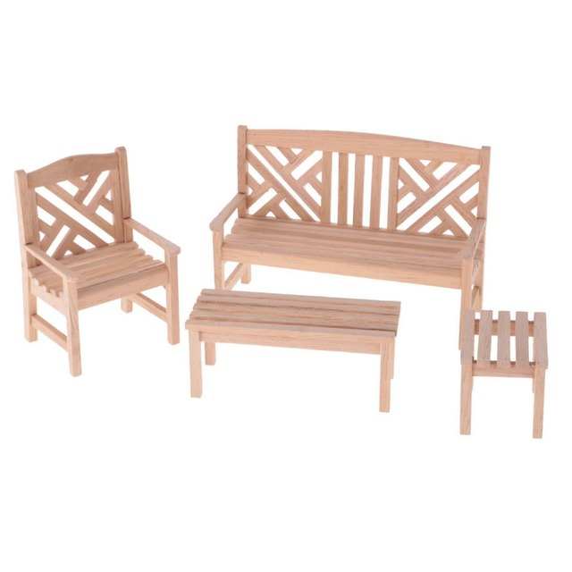 Neue 112 Puppenhaus Miniatur Garten Tisch Stuhl Set Unlackiert 4