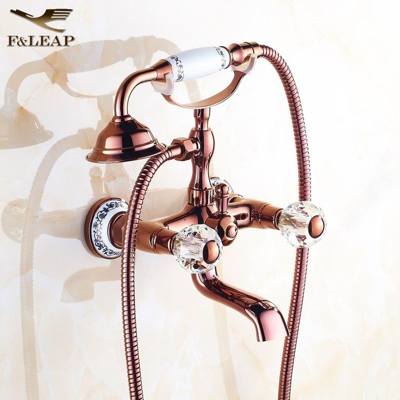 Bathtub faucet luxury rose gold crystal handle bathroom - Gold bathroom faucets with crystal handles ...
