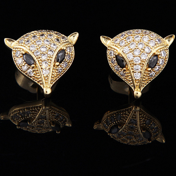 PINFIRST  Small fox personality unique Micro Pave CZ earrings exquisite earrings