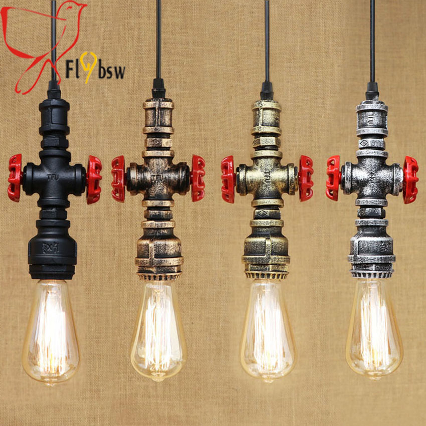 vintage 4 colors Iron water Pipe pendant lamp Loft industrial creative retro hanging lamp for bar restaurant lighting fixtrue retro pendant lamp nordic industrial loft iron pipe pendant light hanging lamp decorative lighting e27 edison bulb 4 head wpl203