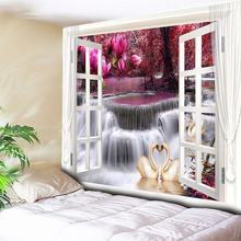 Bohemia Bedroom Tapestry Wall Hanging Psychedelic Waterfall Swan Decorative Carpet Blanket Mandala Tapisserie 200cm*150cm