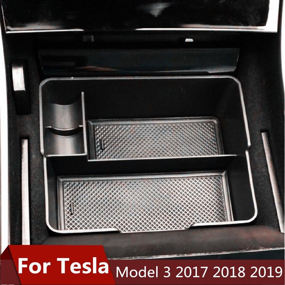 Case Glove-Organizer Storage-Box Auto-Container Tesla-Model 3-Bluestar Armrest For Central