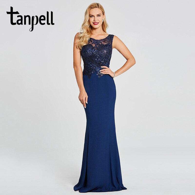 Tanpell mermaid evening dress dark royal blue scoop sleeveless floor length gown women beaded embroidery formal evening dresses
