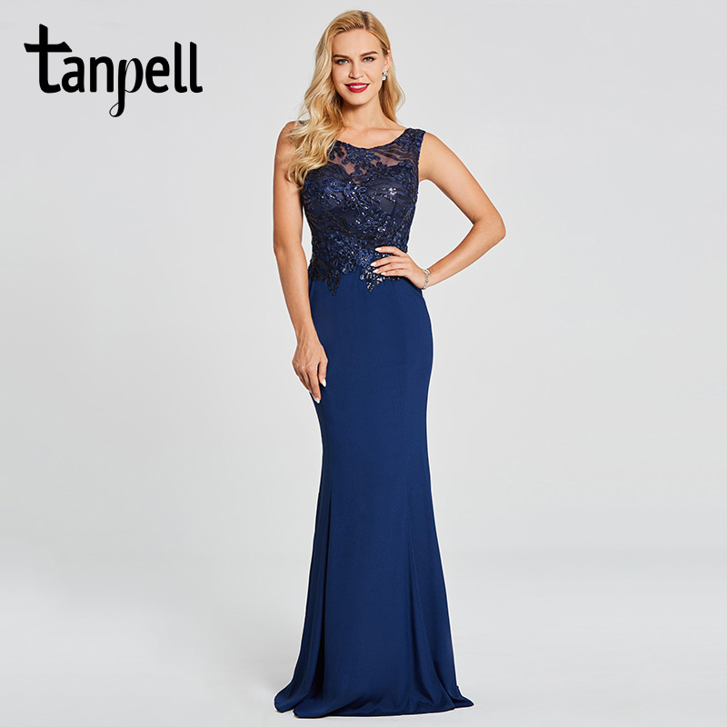 Tanpell mermaid evening dress dark royal blue scoop sleeveless floor length gown women beaded embroidery formal evening dresses