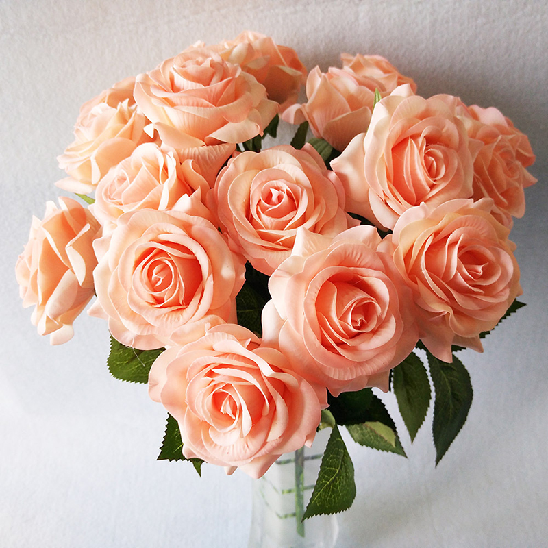 1 Branch 43CM Silk Rose Flower European Artificial Flowers Wedding Party Decoration Bride Hand Holding Flower Vividly F17