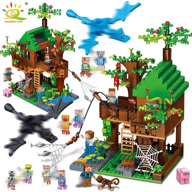 443 pcs Floresta Ilha Casa de Blocos de Construção do Modelo legorreta Minecrafted Cidade DIY dragão Figura tijolo brinquedo Educativo para as crianças