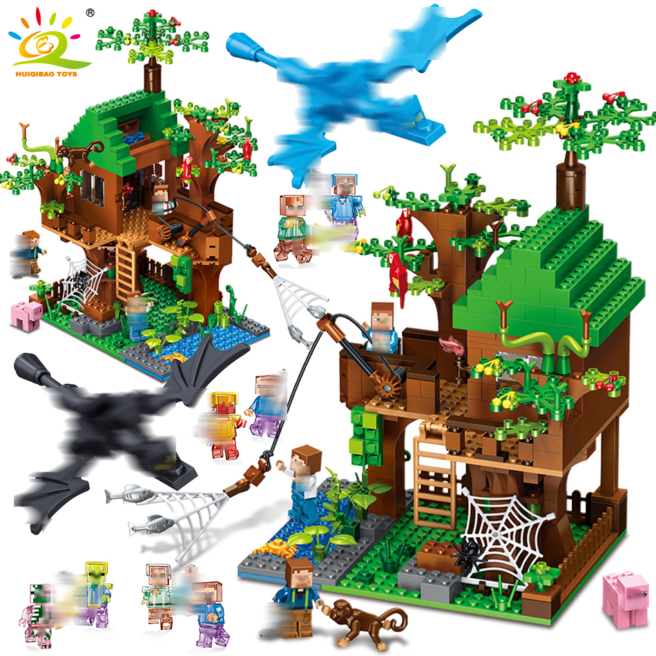 443pcs Island Forest House Model Building Blocks Compatible Minecrafted city DIY dragon Figures brick toys for children