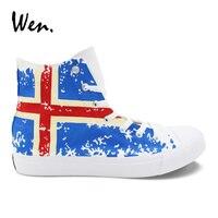 Wen Hand Painted Shoes Design Iceland Flag Canvas Sneakers Men Women Vulcanize Shoes Pedal Platform Espadrilles Flat Plimsolls