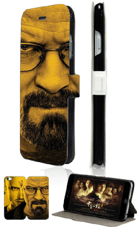 2015 Hot breaking bad new 2 slot card wallet leather cases for IPHONE 5 5s Free Shipping