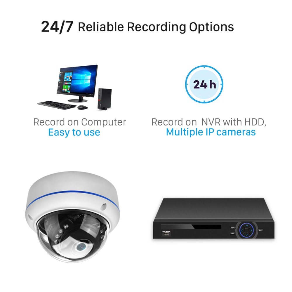 Image 4 - BESDER H.265 5MP 3MP Surveillance IP Camera Audio Internal Microphone Vandalproof  IR Night Dome Security Camera ONVIF PTP Alert-in Surveillance Cameras from Security & Protection