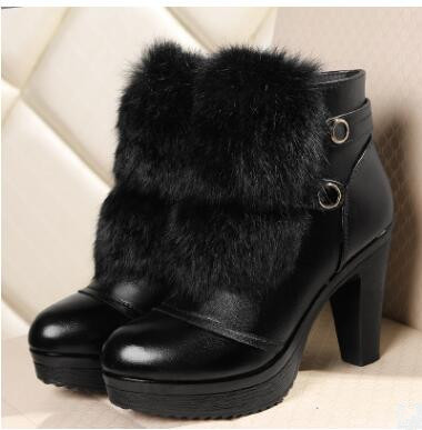 ФОТО Women's boots, wool one2016winter  women genuine leather ankle boots, high-heeled boots women rabbit hair fashion, free shipping