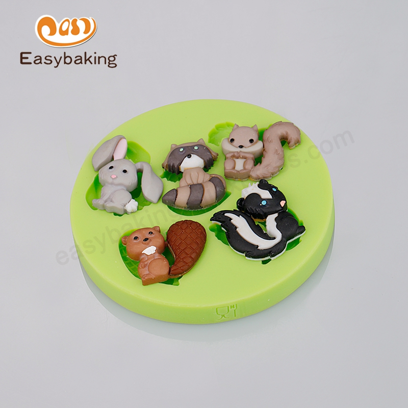 Rabbit Tanuki Squirrel Jungle Animal Themed Silicone Molds Clay Chocolate Candy Silicone Mould for Fondant