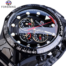Forsining Hot 2019 Mens Automatic Watch Black Self-Wind Speed Car Male Date Steel Strap Military Wrist Mechanical Relojes Hombre 2016 new fashion hot sewor date rubber strap calendar business retro men mechanical automatic self wind male wrist watch gift