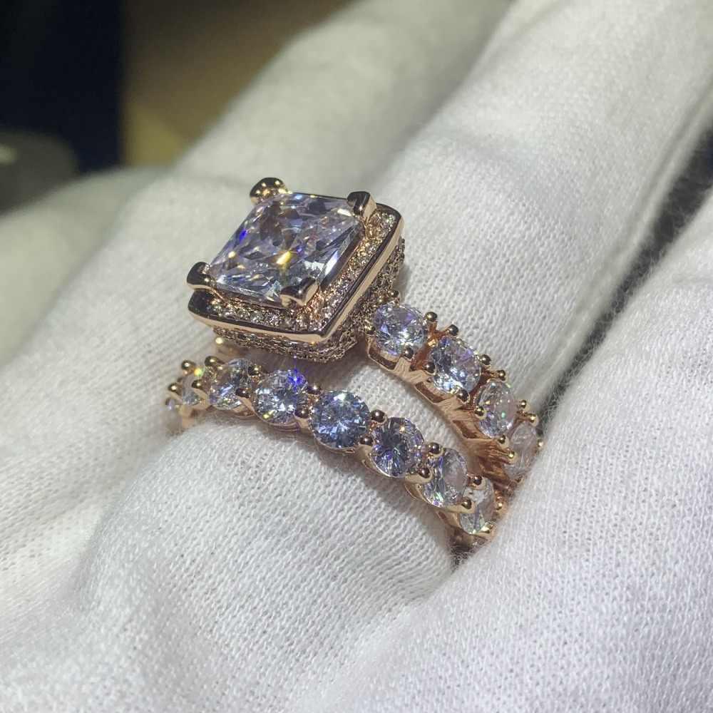 Venda quente original novo 2019 jóias de luxo 925 prata & rosa ouro preenchimento princesa corte 5a zircônia cúbica casamento conjunto anel de noiva presente