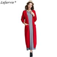 Lafarvie 2017 Nouvelle Vente Chaude Cachemire Cardigan En Tricot Chandail Automne Femmes De Mode Col V Chemise Mince Version Coréenne Femelle De Fourrure Longue