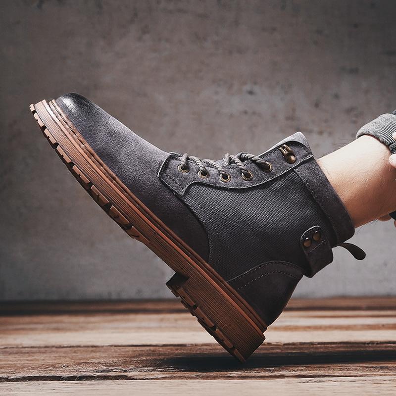 Bota Llegada De Zapatos Moda Negro Botas Estilo Otoño Los Primavera amarillo Trabajo Hombre Nueva Hombres Gran gris Unisex Martin Amante G5 019 Cuero AXqwxTxC