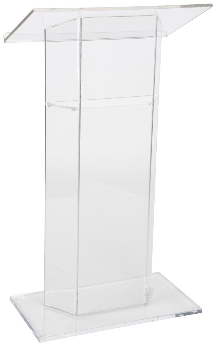 Clear Church Pulpit Lectern, Thick Acrylic, No Assembly, Inner Shelf, Pedestal Base (LECTCV)