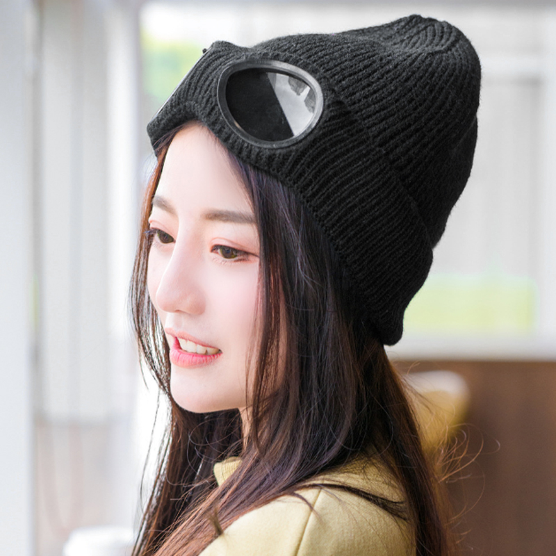 Women Caps Windproof Glasses Hat Wool Winter Fashion Gorros Cap Fixing  Stacking Knitted Hats Women Personality Ski Cap-in Skullies   Beanies from  Apparel ... 38b0a915c01a