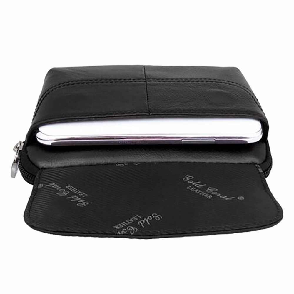 本革男性ウエストベルトバッグカジュアルヒップボムポーチ因果第一層牛革携帯/携帯電話ケース財布バッグ