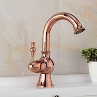 Free Shipping Royal Rose Gold Rotatable Bathroom Faucet Swivel Curved Gold Plated Basin Sink Mixer Tap TL112