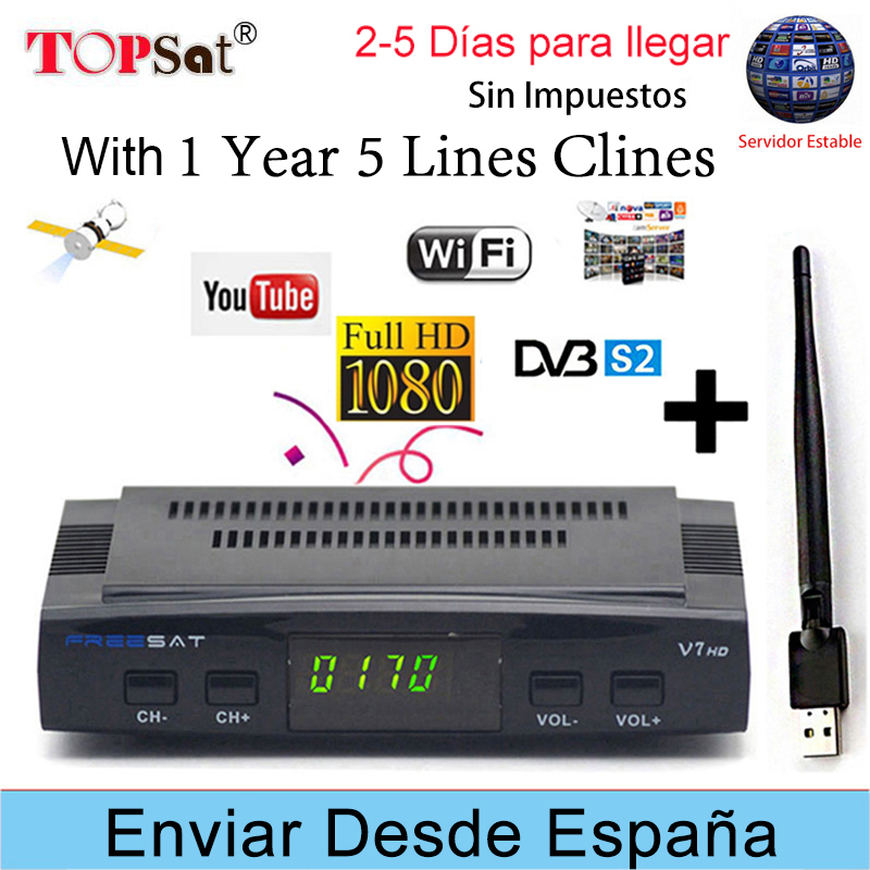 FREESAT V7 HD & X800S HD Receptor DVB-S2 FTA Satellite TV Receiver Decoder + Europe cline for 1 year spain + USB WIFI decoder