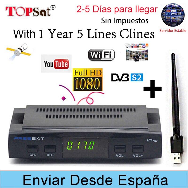 FREESAT V7 HD y X800S HD Receptor DVB-S2 FTA satélite Receptor decodificador + Europa cline para 1 año España + USB WIFI decodificador