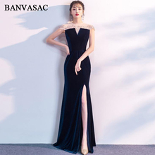 BANVASAC Illusion Crystal O Neck Velour Split Mermaid Long Evening Dresses 2019 Party Short Cap Sleeve Prom Gowns
