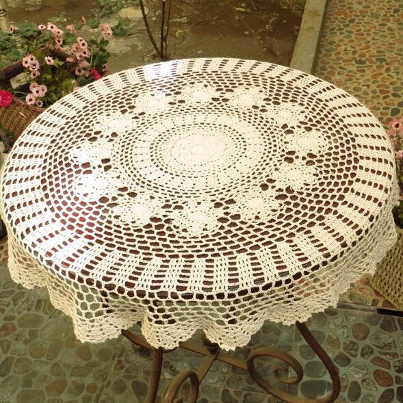 Flores de ganchillo hecho a mano Manteles Encaje Mesa Redonda Home ...