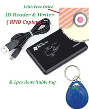USB 125khz RFID Reader & Writer ID card Copier duplicate copier & 1pcs free rewritable tag
