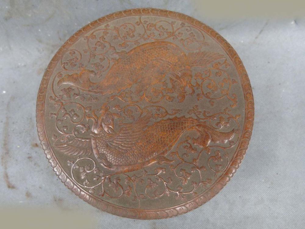 Chine vieux main-fait pur rouge cuivre sculpté Phoenix dragon boîte à bijoux Statue (D0426)