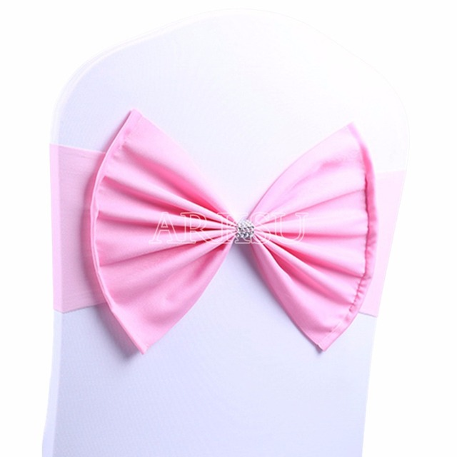 50 pcs lot pink wedding chair sash tie bow acrylic chair cover