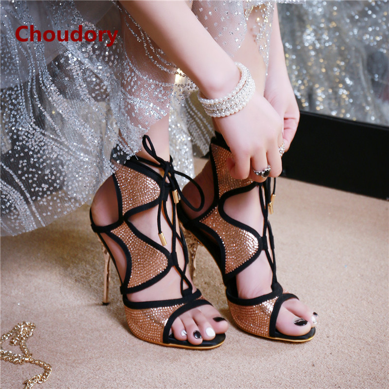 Open Toe Thin High Heels Shoes Woman Luxury Bling Gladiator Sandals Cross-tied Prom Style Women Pumps Choudory Chaussure Femme  rome new sexy high heels wedding shoes woman 2017 brand cross tied women luxury retro square toe gladiator sandals women boots