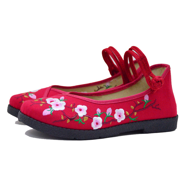 Fashion 2017 Old Peking Cloth Shoes, Chinese Style Totem Flats Mary Janes Embroidery Casual Shoes, Red+Black Women Shoes S189 (51)