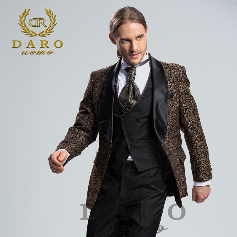 DARO 2018 New Men Suit 3 Pieces tuxedo Slim Fit blue grey white ...