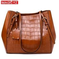 MAGICYZ Women Messenger Bags Large Capacity Women Bags Shoulder Tote Bags bolsos Crocodile pattern Deform Bucket Leather Handbag