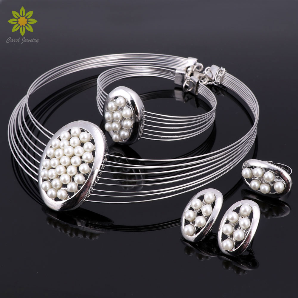Imitation Pearl Jewelry Sets Nigerian African Beads Women Bridal Wedding  Dubai Statement Necklace Earrings Accessories(