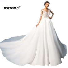 Doragrace Real Photos Long Sleeve Lace Wedding Gowns Plus Size Dresses Custom Made