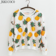 JKKUCOCO Hot Style Yellow Pineapple Cotton Hoodies Sweatshirts Women sweatshirt Batwing Sleeve thin loose Casual Pullover S M L(China)