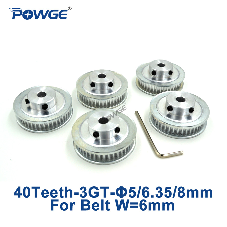POWGE 5pcs 40 Teeth 3GT Synchronous Pulley Bore 5mm 6.35mm 8mm for width 6mm 3GT Open Timing Belt GT3 Pulley Belt 40Teeth 40T powge 8pcs 20 teeth gt2 timing pulley bore 5mm 6mm 6 35mm 8mm 5meters width 6mm gt2 synchronous 2gt belt 2gt 20teeth 20t