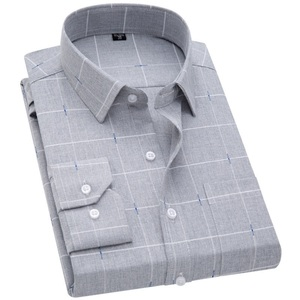 Image 2 - 2019 New VISADA JAUNA Fashion Casual Men Shirt Slim Fit Long Sleeve Male Shirt Printed Plaid Business Shirts Dress Camisas Homme