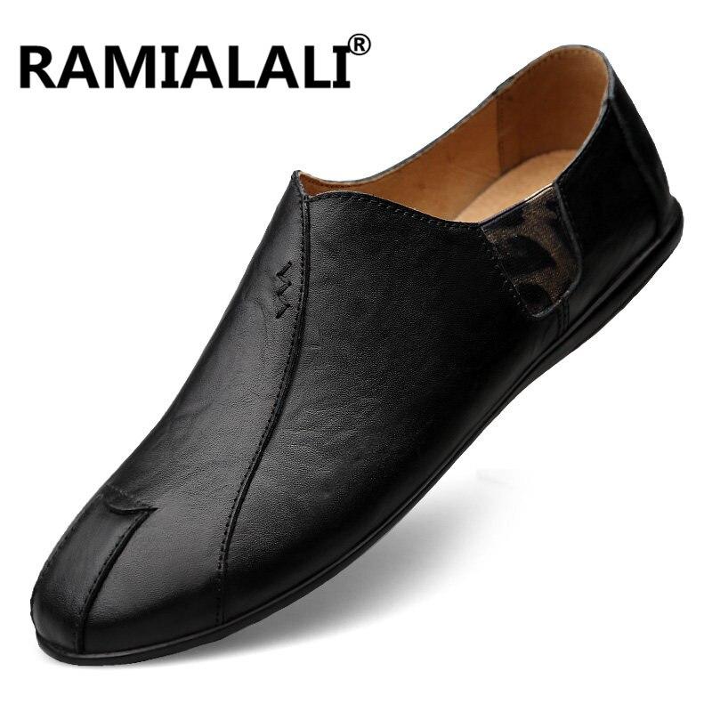 Plates Homens Sapatos Chaussures Nouvelle Mocassins Main Doux Pour Noir marron Véritable Casual En Ramialali Cuir Hommes xPgwUO