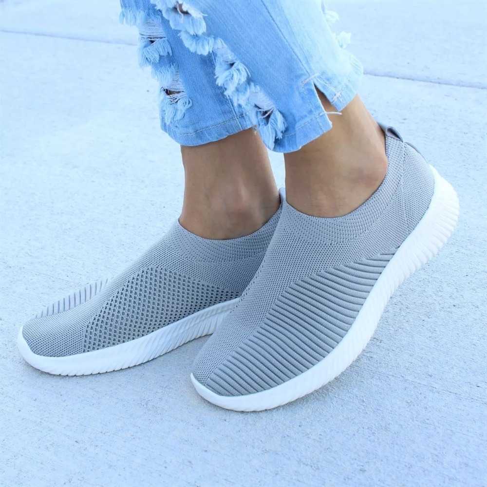 Breathable Mesh Sneakers Women 2019 Spring Summer Slip On Platform Knitting Flats Soft Walking Shoes Woman Plus Size 35-43
