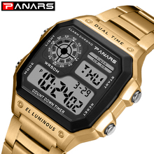 PANARS Digital Watch Men Sport Chronograph Waterproof Watch LED Electronic Gold Stainless Steel Fashion Wrist Watches Male Clock