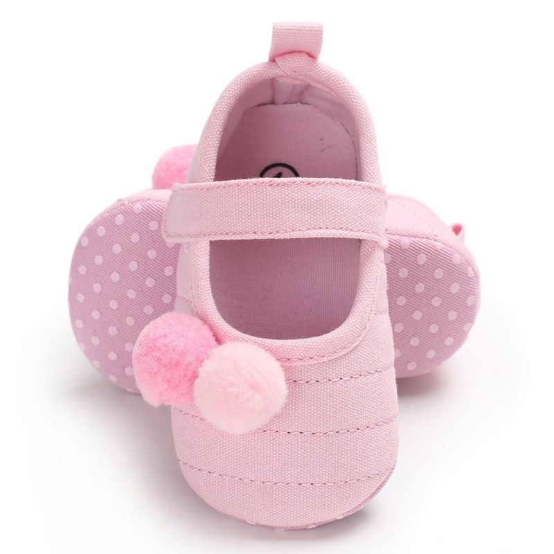 Spring Autumn Baby Girl Lovely Printing Shoes Small Fresh Pompon Decoration Baby Princess First Walkers