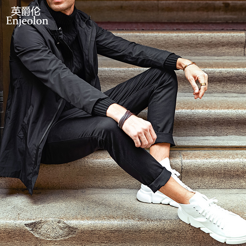 Enjeolon Brand Long Straight Trousers Men Casual Pants Fit Black Solid Male KZ6146
