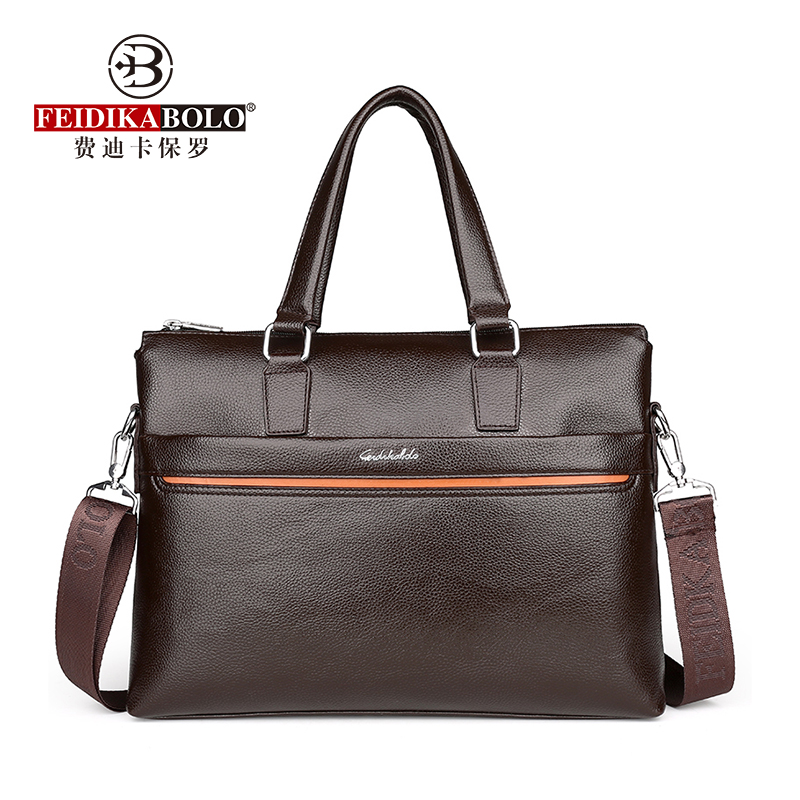 FEIDIKABOLO Contrast Color Stitching Men's Handbag New Fashion Business Bag Wild Leisure Shoulder Messenger Computer Briefcase