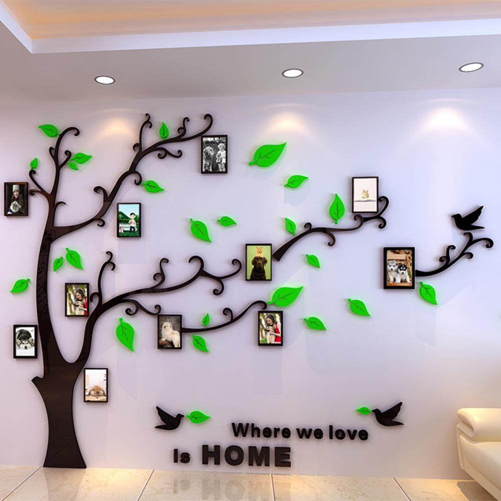Diy 3d crystal acrylic mirror decorative photo frame tree for Stickers de pared