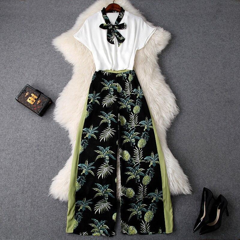 Femmes pantalon de costume décontracté arc clloar blanc hauts et chemisiers + ananas lâche jambe large pantalon deux pièces ensemble nouveau 2019 printemps